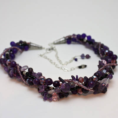 Sterling Silver Jewelry - 3607 Multi Strand Adjustable Amethyst Necklace by Teresa Mucha