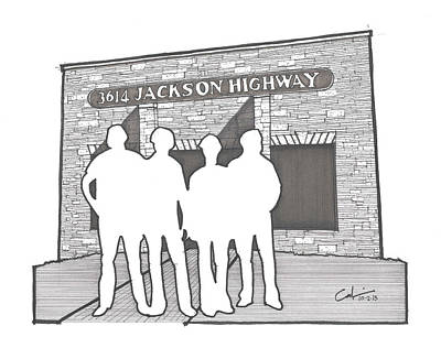 Art Print featuring the drawing 3614 Jackson Highway by Calvin Durham