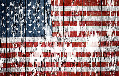 Weathered Photograph - American Flag by Les Cunliffe
