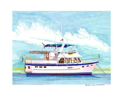 Yacht Club Painting - 37 Foot Marine Trader 37 Trawler Yacht At Anchor by Jack Pumphrey