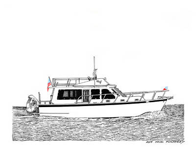 Drawing - 37 Ft Northwest Trawler Yacht by Jack Pumphrey