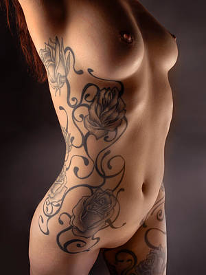 Photograph - 3716 Model Embyr's Black Rose Tattoo by Chris Maher