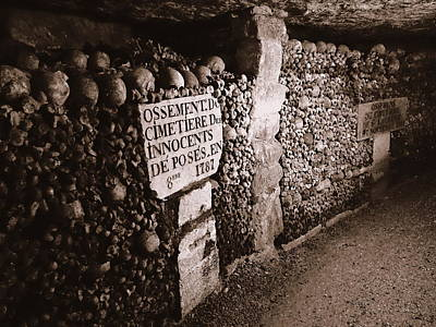 Cemeteries Of Paris Photograph - Skulls And Bones In The Catacombs Of Paris France by Richard Rosenshein