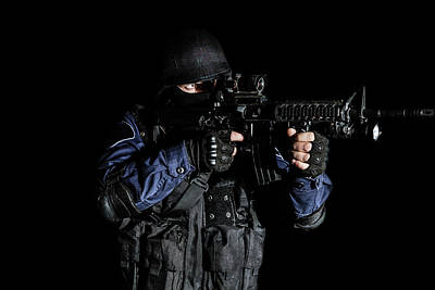 Photograph - Special Weapons And Tactics Swat Team by Oleg Zabielin