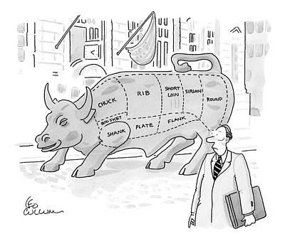Wallstreet Drawing - Wallstreet Bull by Leo Cullum