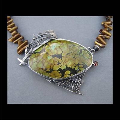 382 Twig Work Olive Turqouise Stone Original by Brenda Berdnik