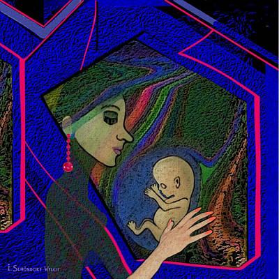 387 -  Thinking Of Her Unborn Child ...    Art Print by Irmgard Schoendorf Welch