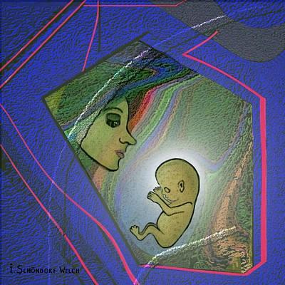 Sweet Digital Art - 388  - Her Unborn Child   by Irmgard Schoendorf Welch