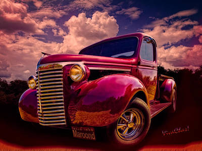 Pickup Photograph - 39 Chevy Pickup Maroond For The Night by Chas Sinklier