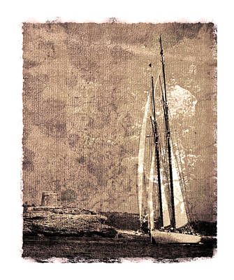 Photograph - 39 Sailboat - In A Grunge Process Close To Menorca Shore Beside A Defensive Tower Of Xviii Century by Pedro Cardona