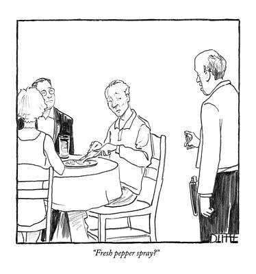 Pepper Drawing - Fresh Pepper Spray? by Matthew Diffee