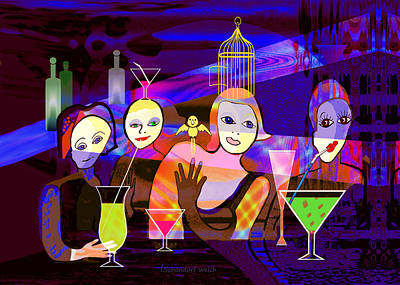 Painting - 392 - In The Funny Bar   by Irmgard Schoendorf Welch