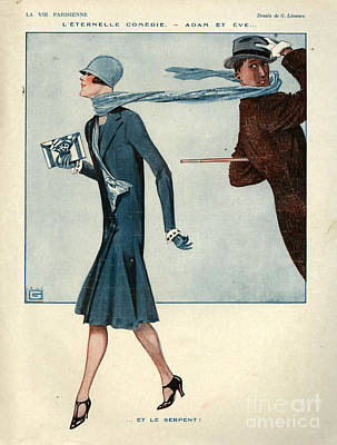 Windy Drawing - 1920s France La Vie Parisienne Magazine by The Advertising Archives