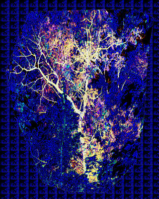 3d Amazing Mystery Tree Lightening Thunderbolt Graphic On Dark Blue Magical Base           Art Print