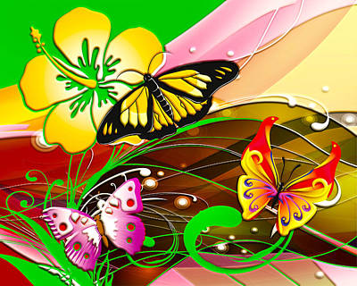 Digital Art - Butterflies And Flowers by Carlos Diaz