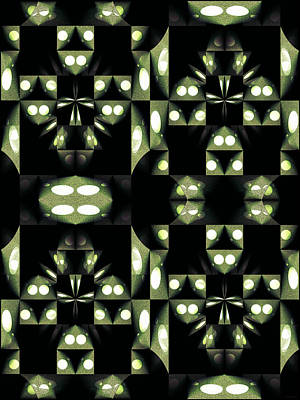 Digital Art - Green And Black Geometric Pattern by Gillian Owen