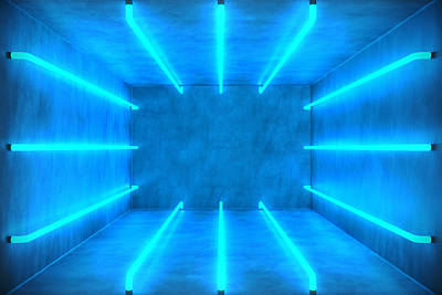 Photograph - 3d Illustration Abstract Blue Room by Rost-9d