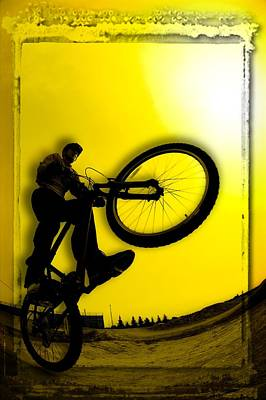3d Image Of Silhouette Of Cyclist Print by Corey Hochachka