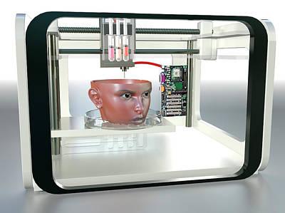 3d Printed Face Art Print by Christian Darkin