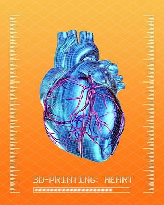 3d Printing Of A Human Heart Art Print by Alfred Pasieka