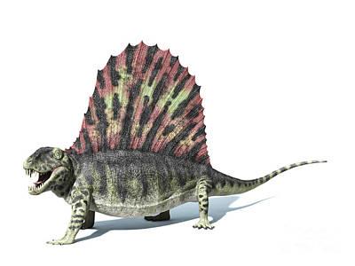 3d Rendering Of A Dimetrodon Dinosaur Art Print by Leonello Calvetti
