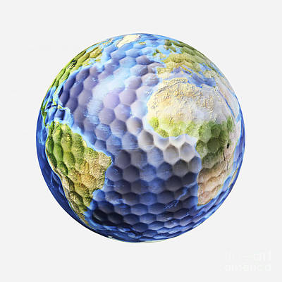 Athletic Digital Art - 3d Rendering Of A Planet Earth Golf by Leonello Calvetti