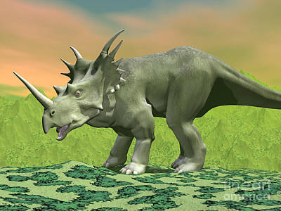 Animals Digital Art - 3d Rendering Of A Styracosaurus by Elena Duvernay