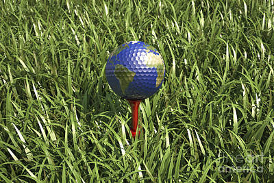 Athletic Digital Art - 3d Rendering Of An Earth Golf Ball by Leonello Calvetti