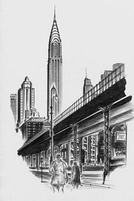 Drawing - New York City - Elevated Chrysler by Peter Potter