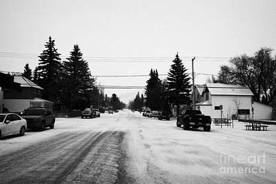 3rd Avenue Street Looking Towards Prairie Malt Plant Biggar Saskatchewan Canada Print by Joe Fox