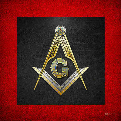 Digital Art - 3rd Degree Mason - Master Mason Masonic Jewel  by Serge Averbukh