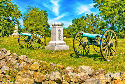 Photograph - 3rd Massachusetts Battery Gettysburg National Military Park by Bob and Nadine Johnston