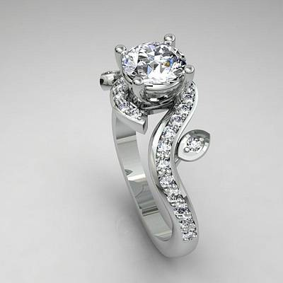 Morganite Jewelry - 14k White Gold Diamond Ring With Moissanite Center Stone by Eternity Collection