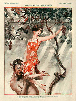 Wine Grapes Drawing - 1920s France La Vie Parisienne Magazine by The Advertising Archives