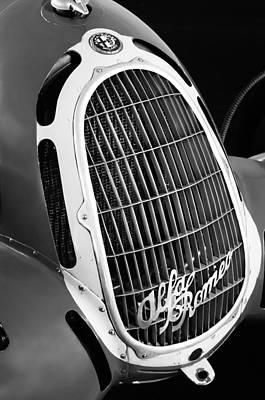 Photograph - 1935 Alfa Romeo 8c-35 Grille Emblem -0006bw by Jill Reger