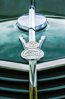 Photograph - 1937 Ford Pickup Truck V8 Emblem by Jill Reger