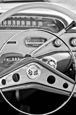 1958 Chevrolet Impala Steering Wheel Art Print