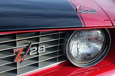 1969 Chevrolet Camaro Z-28 Grille Emblem Art Print by Jill Reger