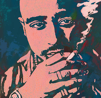 Best Of The Best Drawing - 2pac Tupac Shakur Stylised Pop Art Poster by Kim Wang