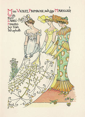 Primroses Drawing - A Flower Wedding Described By  Two by Mary Evans Picture Library