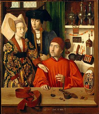 A Goldsmith In His Shop Art Print by Petrus Christus