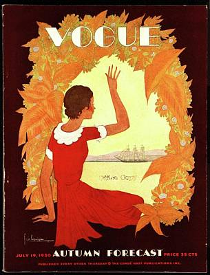 Watercraft Photograph - A Vintage Vogue Magazine Cover Of A Woman by Georges Lepape