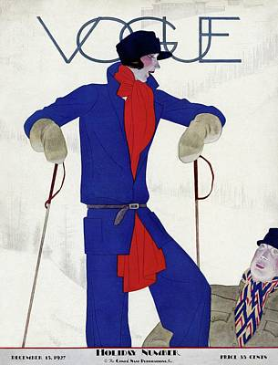 Skiing Photograph - A Vintage Vogue Magazine Cover Of A Woman by Pierre Mourgue
