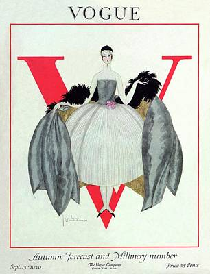 Magazine Photograph - A Vogue Magazine Cover Of A Woman by Georges Lepape