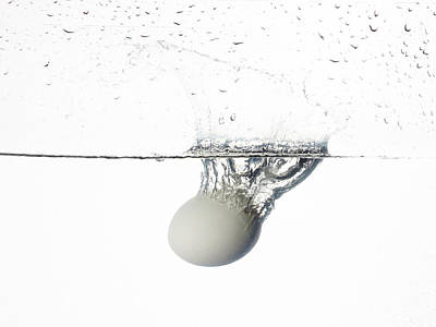A White Birds Egg Dropped Into Water Art Print