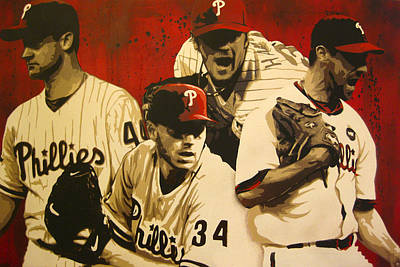 Cole Hamels Painting - 4 Aces by Bobby Zeik