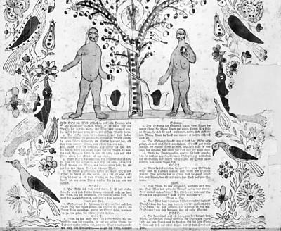 Fraktur Painting - Adam & Eve by Granger