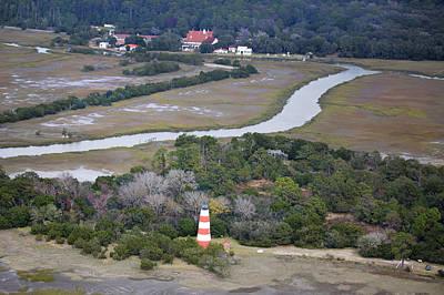 Light House Photograph - Aerial Near Jekyll Island by Betsy Knapp