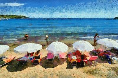 Umbrellas Painting - Agia Marina Beach by George Atsametakis