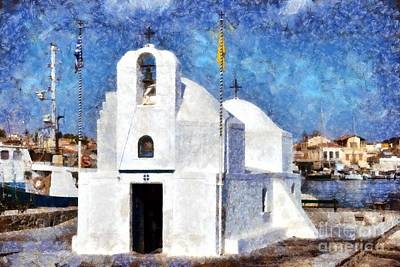 Hellas Painting - Agios Nikolaos Chapel In Aegina Port by George Atsametakis